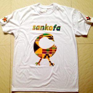 White African print Sankofa T-shirt
